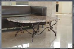Кованый стол с натуральным камнем