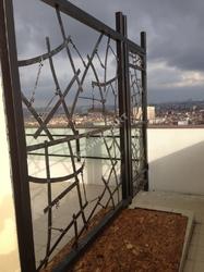 Кованый забор на крыше дома